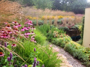Barn House Garden Autumn grasses terrace echinacea