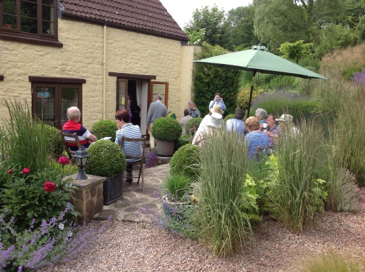 NGS visitors enjoying tea on the patio