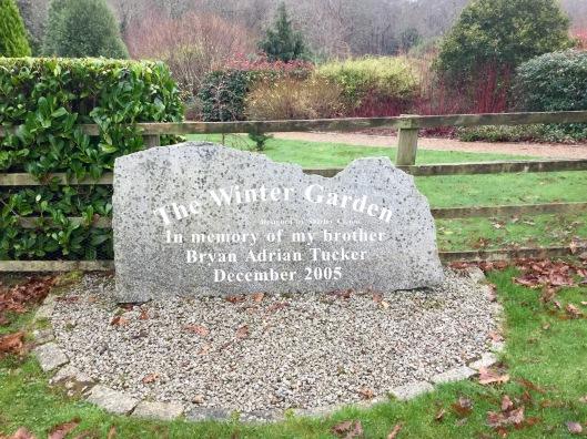 Memorial stone winter garden