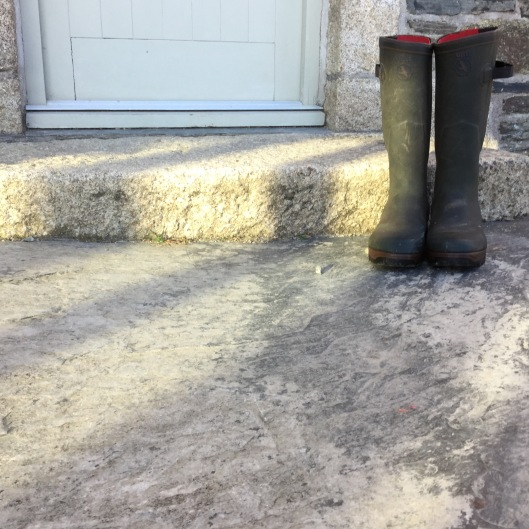 Wellies on the doorstep.